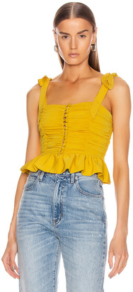 MARIANNA SENCHINA Ruched Button Up Sleeveless Top in Yellow | FWRD
