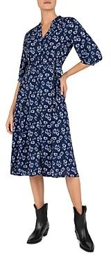 Gerard Darel Settima Floral Print Wrap Midi Dress