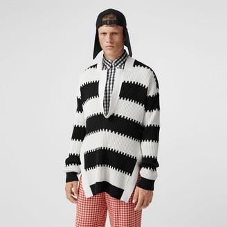 Burberry Side-slit Striped Rib Knit Wool Sweater
