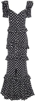 Caroline Constas Iva Tiered Polka-dot Stretch-cotton Poplin Gown