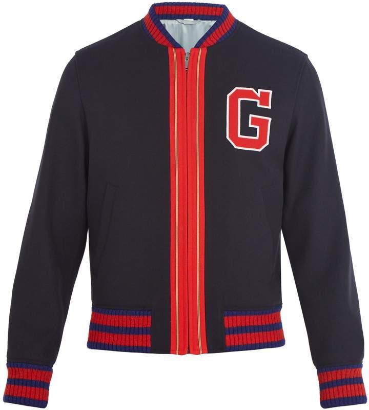 Gucci Logo-appliqué wool bomber jacket