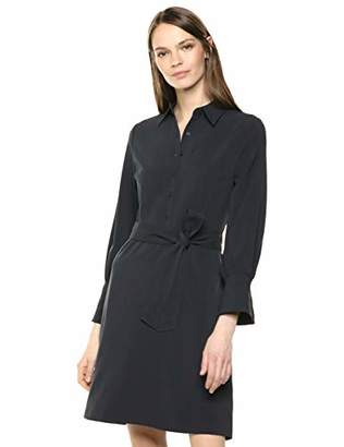Lark & Ro Stretch Twill Fit and Flare Tie Waist Shirt Dress8