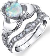 Metal Masters Co. Sterling Silver 925 Heart Shape Claddagh Engagement Ring Wedding Bridal Sets with Simulated Opal 6