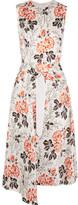 Victoria Beckham Asymmetric Belted Floral-print Crepon Dress - White