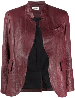 Zadig & Voltaire Crinkle-Effect Band Collar Jacket