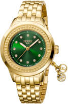 Ferré Milano Women's 36mm Stainless Steel Charms Watch with Bracelet, Golden/Green