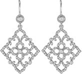 Penny Preville 18k White Gold Diamond Lace Drop Earrings