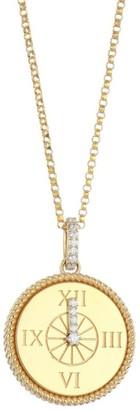 Roberto Coin Disney x Princess Cinderella 18K Yellow Gold & Diamond Clock Pendant Necklace