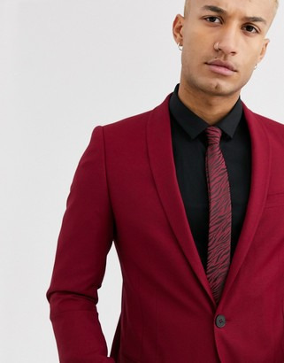 Twisted Tailor Hemmingway super skinny suit jacket in burgundy