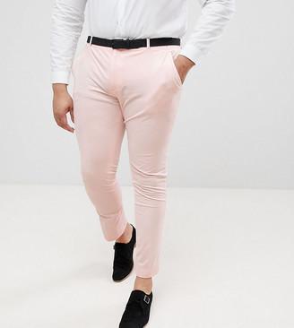 Asos Design DESIGN PLUS Super Skinny Smart Trousers In Peach Velvet-Pink