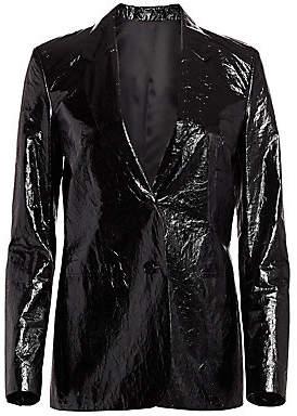 Helmut Lang Women's Crinkled Mylar Blazer - Size 0