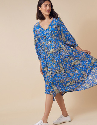 Monsoon Paisley Hanky Hem Dress in LENZING ECOVERO Blue