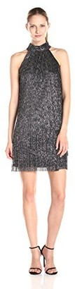 London Times Women's Sleeveless Rouched Stand Collar Dress