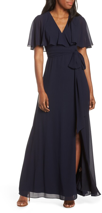 Vince Camuto V-Neck Faux Wrap Chiffon Gown