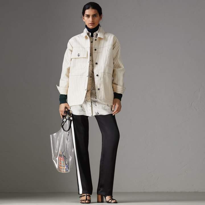 Burberry Stripe Detail Silk Satin Tailored Trackpants