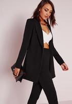 Missguided Petite Longline Blazer Black