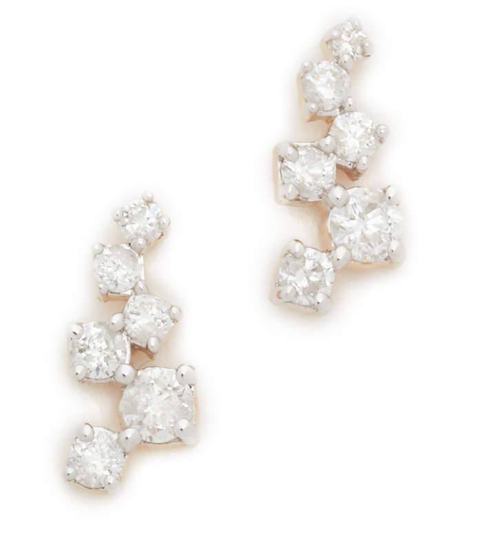 Adina 14k Gold Scattered Diamond Stud Earrings