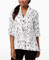 JM Collection Petite Printed Crinkle Jacket, Created for Macy's