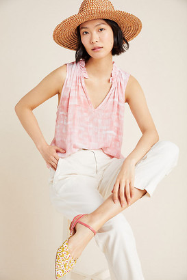 Cloth & Stone Mira Ruffled Tank By in White Size L