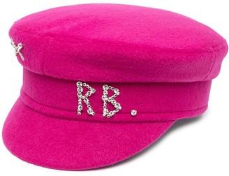 Ruslan Baginskiy Crystal-Embellished Logo Baker Boy Cap