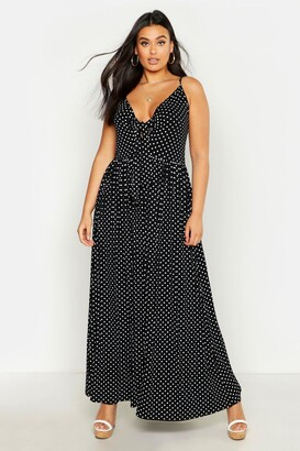 boohoo Plus Polka Dot Strappy Knot Front Maxi Dress