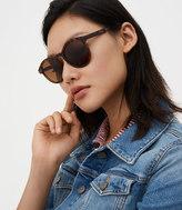 LOFT Matte Tortoiseshell Print Round Sunglasses