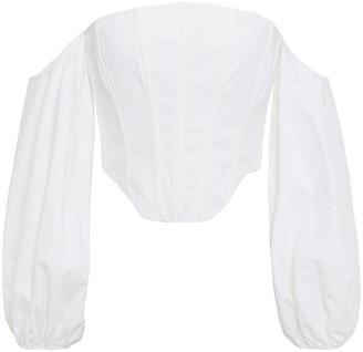STAUD Off-the-shoulder Linen-blend Bustier Top