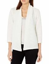 Kasper Women's Plus Size 3/4 Sleeve Open Front Sequin Cardigan