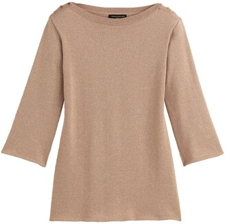 Vanessa Seward X La Redoute Collections Cotton Mix Mini Dress with Boat Neck and Long Sleeves