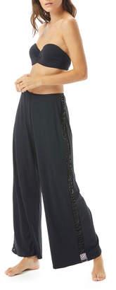 Carmen Marc Valvo Sequined Wide-Leg Coverup Pants