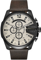 Diesel Men's Chronograph Mega Chief Dark Brown Leather Strap Watch 51mm DZ4422