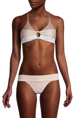 Pilyq Colorblock Knot 2-Piece Bikini Set