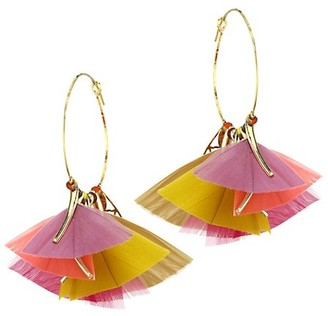 Gas Bijoux Marly 2-Piece 24K Gold Feathered Hoop Earrings