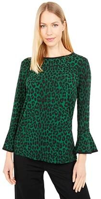 MICHAEL Michael Kors Cheetah Flutter Sleeve Top (Moss) Women's Clothing