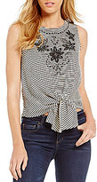 Copper Key Striped Embroidered Tie Front Top