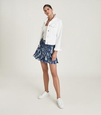 Reiss Flora - Tassel Printed Mini Skirt in Blue