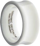 White Ceramic Ring by CERAMIC GESTALT® - 10mm Width. Concave Design. Size 14 - RW10C14
