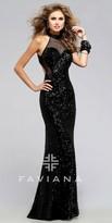 Faviana Netted Neckline Prom Dress