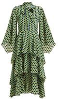 Osman Henra Star-print Silk-crepe Tiered Midi Dress - Womens - Green Print