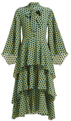 Osman Henra Star-print Silk-crepe Tiered Midi Dress - Womens - Green Print
