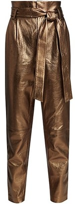 Alice + Olivia Gabriielle High-Rise Metallic Leather Pants