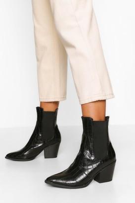 boohoo Pointed Toe Croc Chelsea Boots