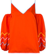 Anna October - puff-sleeve cold shoulder top - women - Cotton - XS