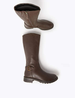 Marks and Spencer Kids Leather Knee High Boots (13 Small - 6 Large)