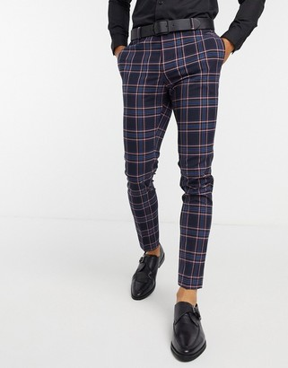 ASOS DESIGN wedding super-skinny suit pants in pink check