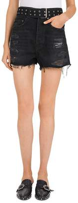 The Kooples High-Rise Belted Denim Mini Shorts in Black Washed