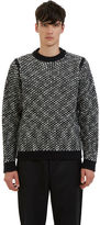 Acne Studios Men's Kaapo Looped Knit Sweater In Black And White