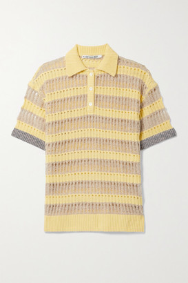 ANDERSSON BELL Moana Striped Open-knit Polo Shirt