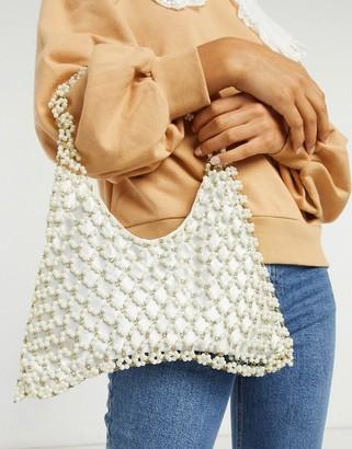 ASOS DESIGN pearl beaded grab clutch bag
