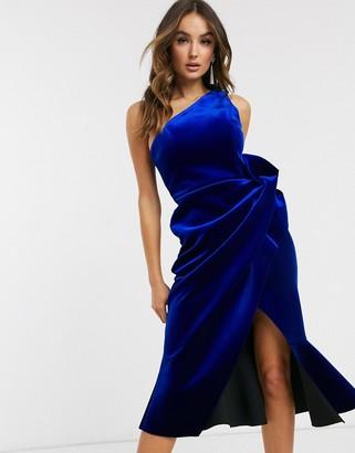 Asos Design DESIGN velvet one shoulder tuck detail midi dress-Blue